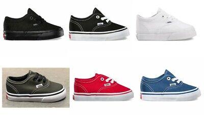 New Vans Authentic Black-Black / Black-White Canvas Infant Toddler Boy Girl Shoe