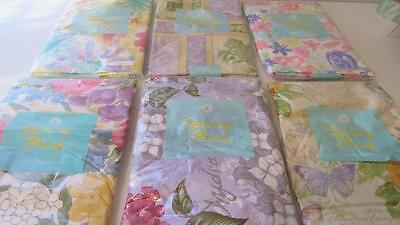 Vinyl Tablecloth Flannel Back Flowers Floral 6 Styles U Pick Spring Summer NEW (Spring Tablecloth Vinyl)