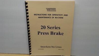 Verson 20 Series Press Brake Instruction Maintenance Manual