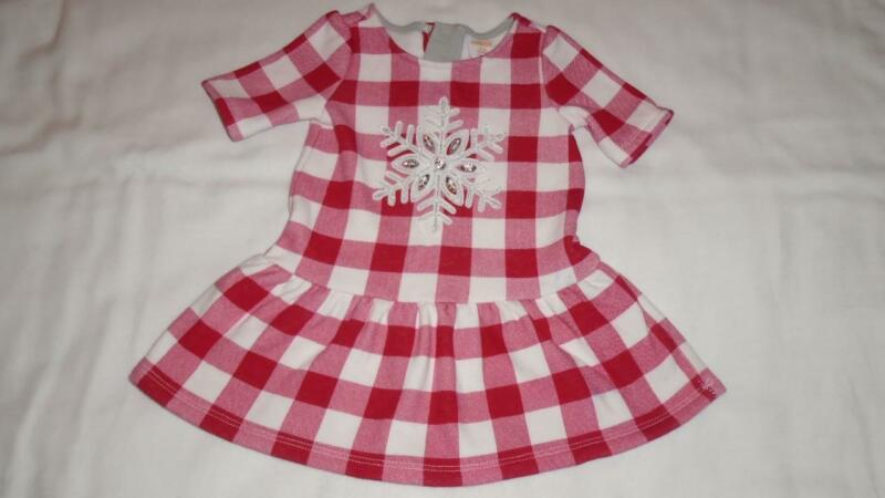 Girls Size 6-12 Months Gymboree Dress Red & White Checked w/ Gem Snowflake GUC