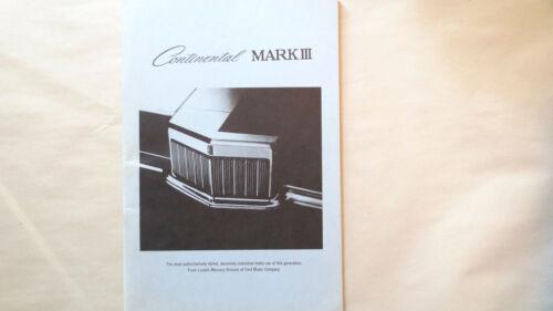 CONTINENTAL MARK III FORM LM-69MK-112 sales brochure, Ford Lincoln Mercury 1969