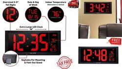 18 LED BIG DIGIT CLOCK JUMBO XLARGE WALL MOUNT Indoor Digital Time Date Day Tem