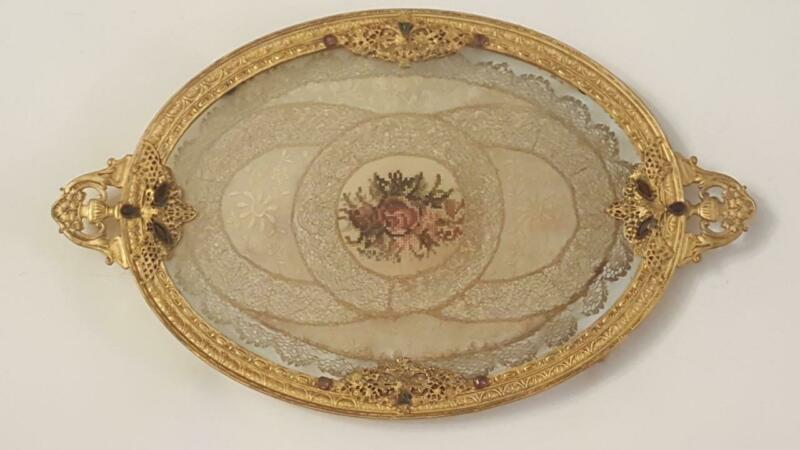 Antique Jeweled Silvercraft Vanity Tray w/ Lace Insert Round