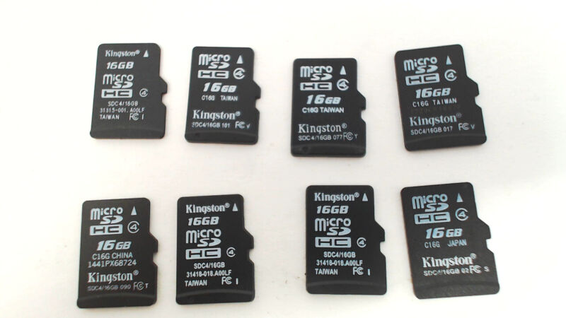Lot of Eight - 16GB Micro SD Memory Cards (Kingston)