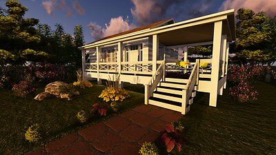 Tiny House Plans 1 Bedroom   Deck 400  Sf Site Built 1 Bath Home Plans Cd Rom