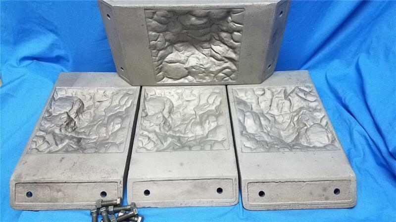 Rare Vintage Cast Iron Concrete Block Mold Plates - Simpson Cement Mold Co