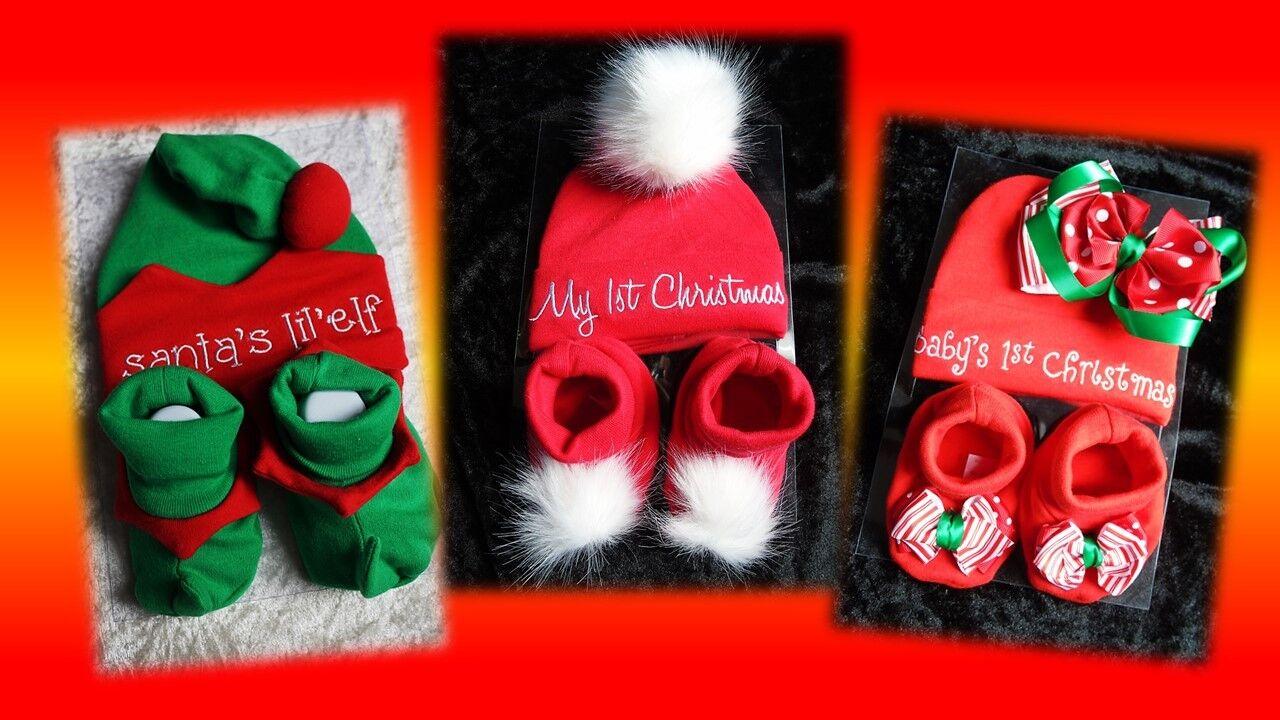 Set Baby Mütze Schuhe Geschenk Erstausstattung Weihnachten Christmas Gr 50 56 NT