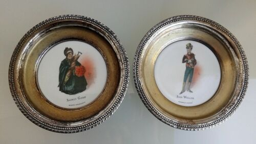2 antique vtg silverplate porcelain insert pats w/characters of C.Dickens by Kyd