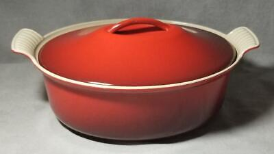 Vintage Le Creuset Oval French Oven 4Qt #28 Cherry Red Nice!