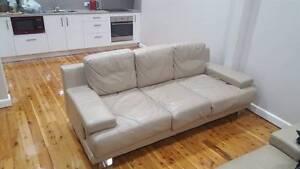 Premium Cream Leather Couch Croydon Burwood Area Preview