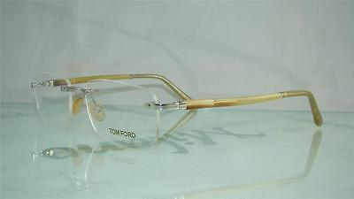 7a2e7d28478b NEW TOM FORD TF 5081 F80 SHINY SILVER RIMLESS Frames Glasses Eyeglasses Size  52