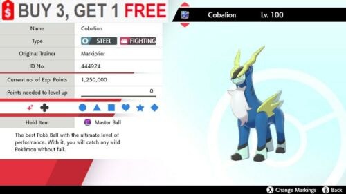 ✨ Shiny Cobalion ✨ Pokemon Sword and Shield Perfect IV🚀Fast Delivery🚀