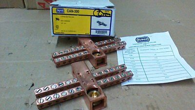 2 Ilsco Can-300 Copper Neutral Grd Bars 1 250mcm-6 2414-6awg 600v