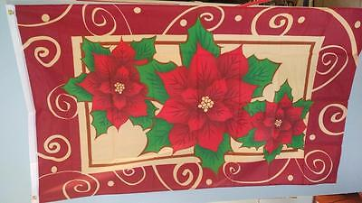 3 x 5 Poinsettas Flag  Holiday