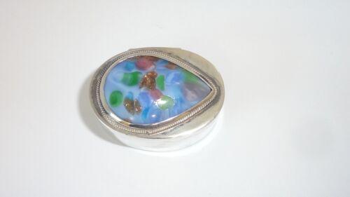 Vintage Sterling Silver Art Glass Mexico Pachuca HGO Pill Box