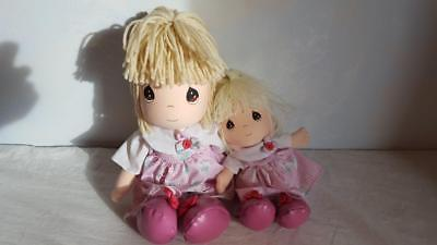 """PRECIOUS MOMENTS ASTER & ALICE 2 CLOTH DOLL SET SOFT SCULPTURE 14""""+9"""" MOMMY & ME"""