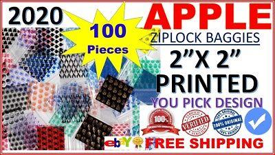 100ct 2020 Apple Baggies 2 X 2 Printed Designs Zip Lock Mini Bags Pick Yours