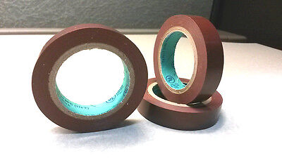 3 Rolls Brown Vinyl Pvc Electrical Tape - 12 X 20