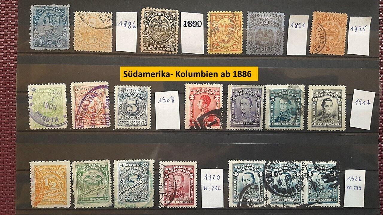 Südamerika- Kolumbien ab 1886, 20 Marken, Gestempelt