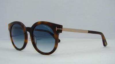 029367acf イギリス Tom Ford Janina TF 435 52P Havana /Rose Gold Round Sunglasses Blue  Gradient Lens