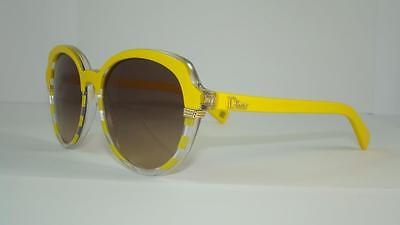 Christian Dior Croisette 3 DUAED Striped Yellow Sunglasses Brown Gradient Siz 53