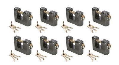 8 x Gusseisernes Monoblock-Vorhängeschloss mit 3 Stahlschlüsseln in 80 mm