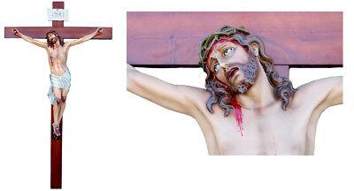 Agonyzing Jesus Fiberglass Cm. 180 Su Croce Legno Cm. 360 x180.ALTEZZA Totale Corpo di Cristo cm. 180 Misure testa/Piedi cm. 165 Larghezza Braccia cm. 140IDONEO PER ESTERNI E INTERNI<br />Body Of Christ - Crucifix h 5,90 length of Arms 4,59Fiberglas