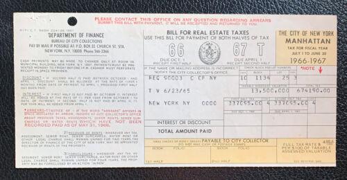 1966-67 Lincoln Center New York City Real Estate Tax Bill