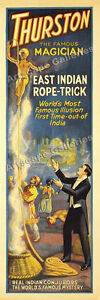 1927 Thurston Magician Poster Magic Rope Trick 8x24