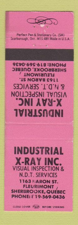 Matchbook Cover - Industrial X Ray Sherbrooke QC inspection WEAR