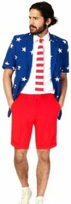 Uncle Sam Suit (Oppo Suit Stars Stripes Costume USA Flag Uncle Sam Jacket Tie Shorts 4th Of)