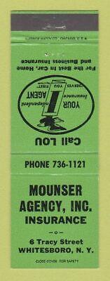 Matchbook Cover - Mounser Insurance Agency Whitesboro NY