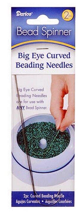 2 pcs Big Eye Curved Bead Spinner Beading Needles Darice 10304