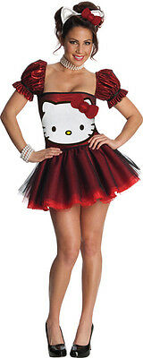 Hello Kitty Red Glitter Kostüm Damen Sexy Kleid Fasching Karneval  XS - L , (K)