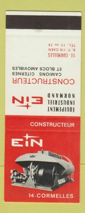 Matchbook Cover - EIN Equipment Industrial Normand Cormelles France SAMPLE WEAR