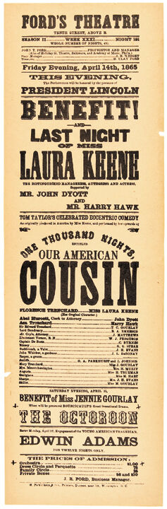 Famous Fords Theatre Broadside Our American Cousin Reproduction