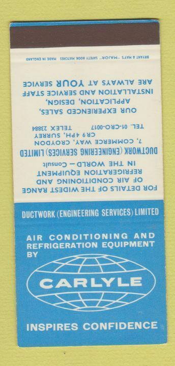 Matchbook Cover - Carlyle Air Conditioning Equipment Croydon UK SAMPLE 30 Strike