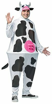 Fat Halloween Man (Adult Fat Cow Costume Hoop Outfit Bovine Halloween Unisex Womens Mens One)