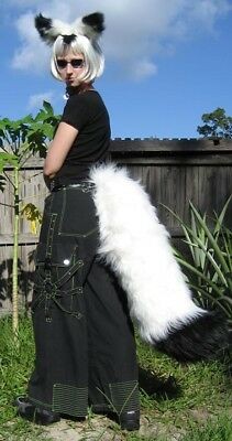 WHITE Black ARCTIC FOX or WOLF EARS LARGE TAIL COSTUME partial fursuit - Arctic Fox Halloween Costume