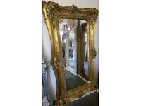 Antique Gold full length twin framed mirror