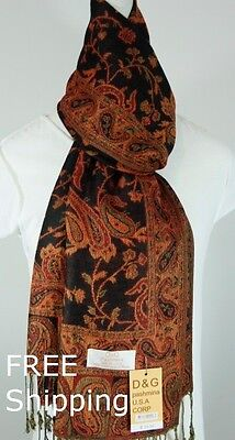 DG Women's Pashmina Scarf Shawl Wrap-Paisley Black Red-Silk Cashmere-Soft*011