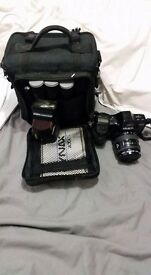 Minolta dynax 7000i film slr camera with flash and accessories