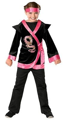 Girls Pink Ninja Costume Samurai Karate Outfit Kimono Fancy Dress Child Large - Ninja Girl Outfits