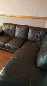 Brown leather corner suite, 2 seater and footstool with storage