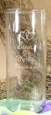 Personalized Flower Vase Wedding Memorial Glass Free etching Cylinder Vase ()