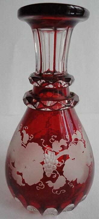 Egermann Bohemian Ruby Red Perfume Bottle Base Grapes & Leaves Antique 1850