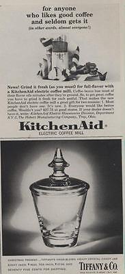 1962 Tiffanys Crystal Candy Jar--KitchenAid Coffee Grinder PRINT AD