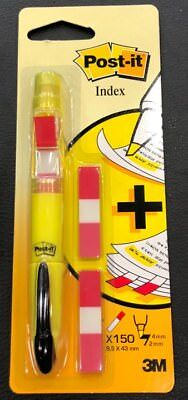 3M Post it Yellow Highlighter PEN with Flag Dispenser + 150 INDEX FLAGS 3m Post It Flag Highlighter