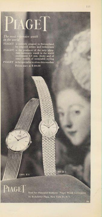 1962 Piaget PRINT AD Men Watch Models 924 D-1 R-11 Great Documenting
