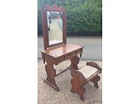 Lovely solid wooden dressing table and stool